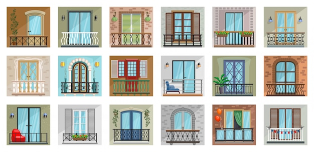 Balkon cartoon ingesteld pictogram.