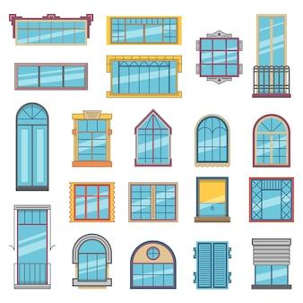 Balkon en houten of kunststof ramen met glas.
