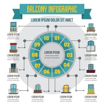 Balkon infographic, vlakke stijl