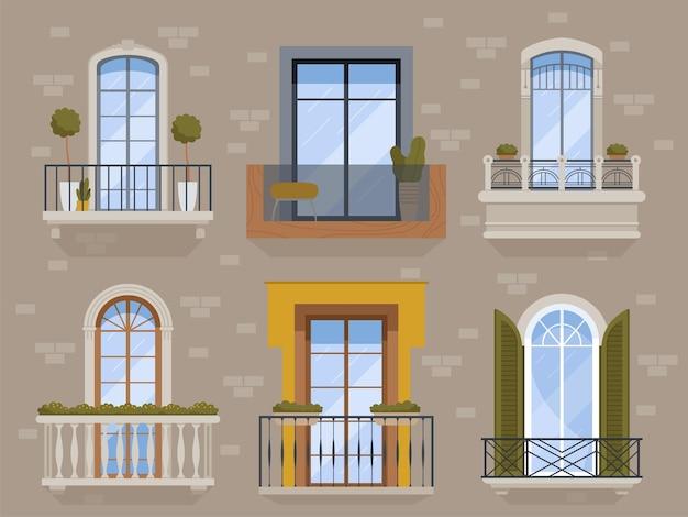 Balkon. moderne gevel exterieur architectonische objecten bouwen boog balkon met bloempotten appartementen vector set. balkonbuurt, gevelconstructie reling, appartement exterieur illustratie