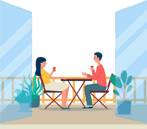 Balkon terras met paar man en vrouw stripfiguren zittend aan tafel buiten gebouwen achtergrond van huis of appartementengebouw.