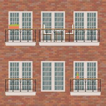 Balkons die op bakstenen muurillustratie worden geplaatst