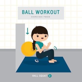 Ball workout. vrouw die de oefening van de stabiliteitsbal doen en yoga opleiding bij gymnastiekhuis, verblijf thuis concept. karakter cartoon illustratie