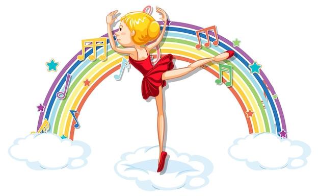 Ballerina dansen op de wolk met melodiesymbolen op regenboog