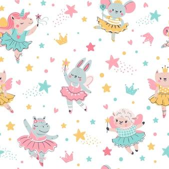 Ballerina dierlijke naadloze patroon. hand getekende baby konijntje, eenhoorn, muis in ballet tutu. meisjes verjaardag, babydouche, t-shirt vector print. illustratie patroon getekende ballerina konijn baby of muis