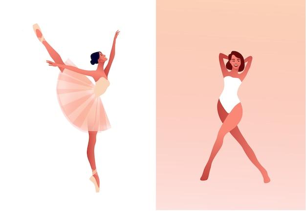 Ballerina en moderne danseres platte set illustratie. schoonheid van klassiek ballet. jonge sierlijke vrouw balletdanser tutu dragen. pointe-schoenen, pastelkleuren