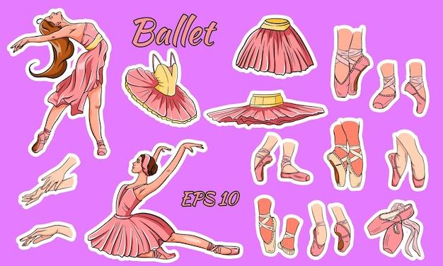 Ballerina en pointe-schoenen geïsoleerd op roze