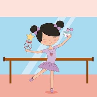 Ballerina in dans voor balletschool of studioprestatie