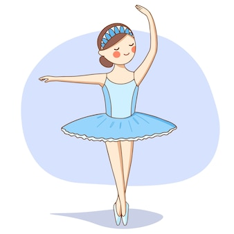 Ballerina in een blauwe tutu danst op het podium.