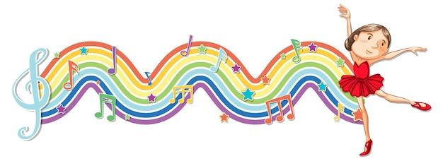 Ballerina met melodiesymbolen op regenbooggolf