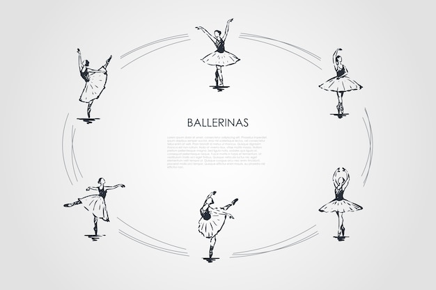 Ballerina's concept set illustratie