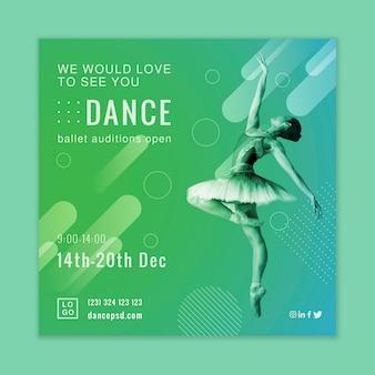 Ballet audities vierkante flyer ontwerp