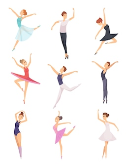 Ballet jongens en meisjes. balletdansers mannelijke en vrouwelijke vector tekens geïsoleerd. meisje en jongen balletdans, illustratie danser cartoon prestaties