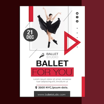 Ballet lessen poster sjabloon stijl