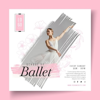 Balletdansen vierkante flyer-sjabloon