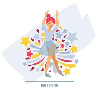 Balletdanser ballerina vrouw karakter dansen in ballet-rok tutu illustratie