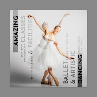 Balletdanser kwadraat flyer-sjabloon Premium Vector