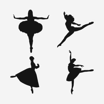 Balletdanser silhouet vector illustratie collectie