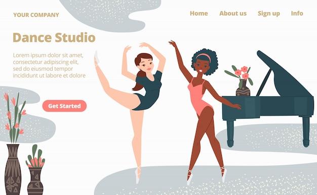 Balletschool dansstudio landing webpagina, concept banner website sjabloon cartoon afbeelding. website paginabanner.