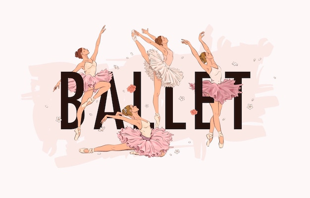 Balletstudio met ballerina's en bloemen