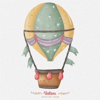 Ballon aquarel illustratie, met papier achtergrond. voor ontwerp, prints, stof of achtergrond