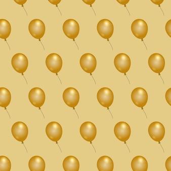 Ballon elegant gouden ballon naadloos patroonbehang als achtergrond