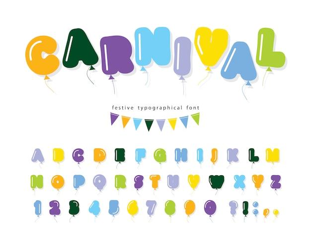 Ballon heldere komische lettertype. vet cartoon alfabet