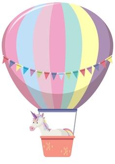 Ballon in pastelkleur met schattige eenhoorn erin