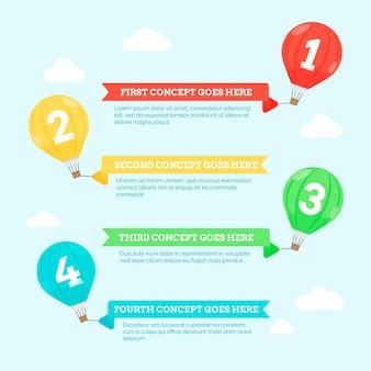 Ballon infographic in plat ontwerp