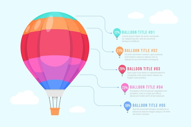 Ballon infographic in plat ontwerp