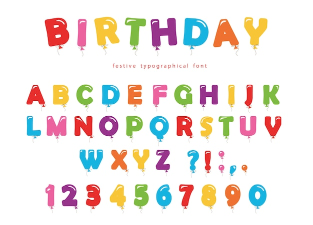 Ballon kleurrijke lettertype.
