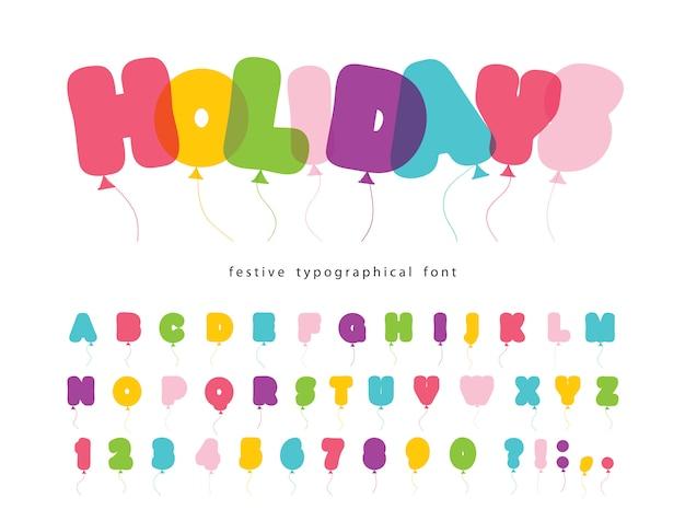 Ballon komisch lettertype voor kinderen.