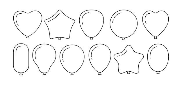 Ballon verjaardag zwarte lijn cartoon set overzicht symbool glanzend helium ballonnen collectie voor party