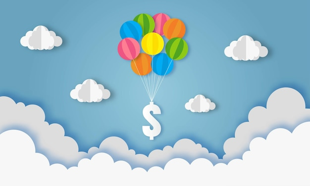 Ballon vliegen met dollarteken op blauwe hemel zakelijke en financiële concept papier kunst Premium Vector