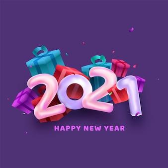 Ballonaantal met geschenkdozen op paarse achtergrond voor gelukkig nieuwjaar.