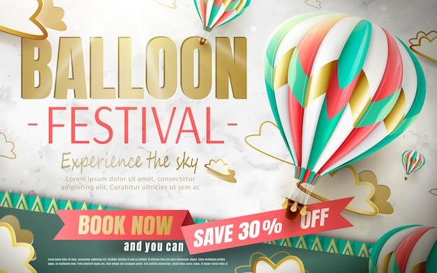 Ballonfestivaladvertenties, heteluchtballontour voor reisbureau en website in illustratie, mooie heteluchtballon op papier gesneden achtergrond