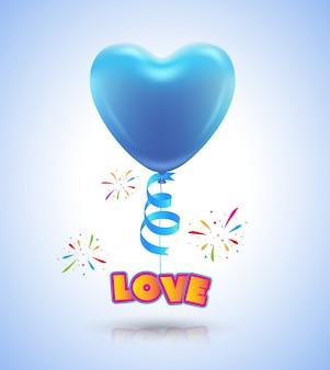 Ballonhart voor de affiche van de liefdegebeurtenis en de dag van de kaartvalentijnskaart