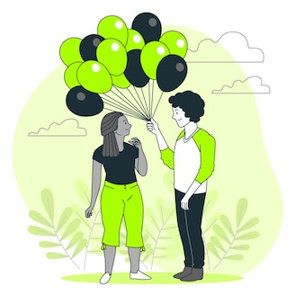 Ballonnen concept illustratie