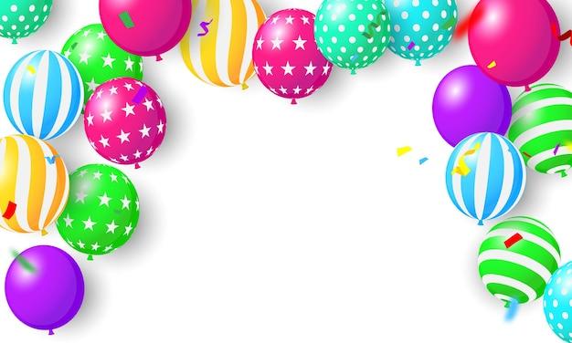 Ballonnen concept ontwerp sjabloon vakantie promotie, achtergrond viering vectorillustratie.