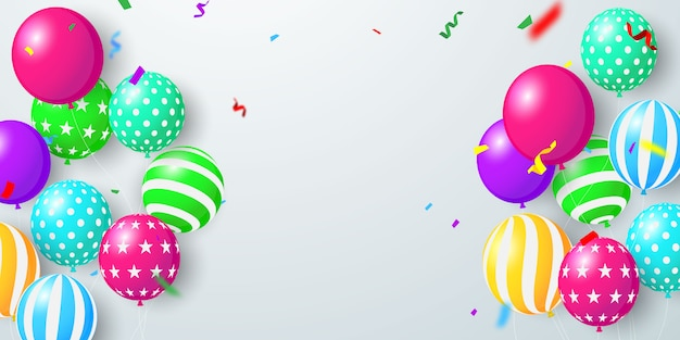Ballonnen concept ontwerpsjabloon vakantie promotie, achtergrond viering.