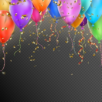 Ballonnen, confetti en roodgouden linten.