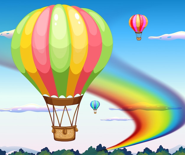 Ballonnen en regenboog
