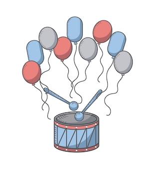 Ballonnen en trommel pictogram