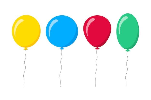 Ballonnen geïsoleerd pictogram op witte achtergrond. decoratie voor vakanties en verjaardagsfeestjes. vector set helium luchtballon, ballen, happy birthday, party concept