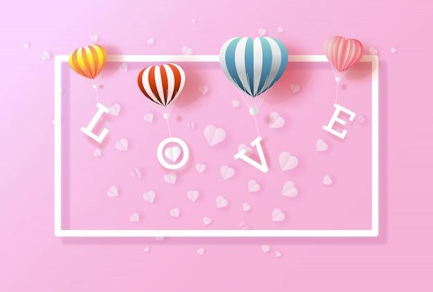 Ballonnen houden van valentijnsdag met hart op paarse achtergrond.