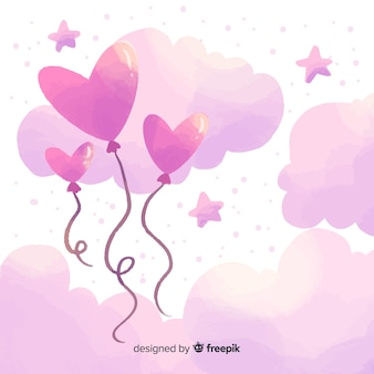 Ballonnen in de hemel valentijnsdag achtergrond