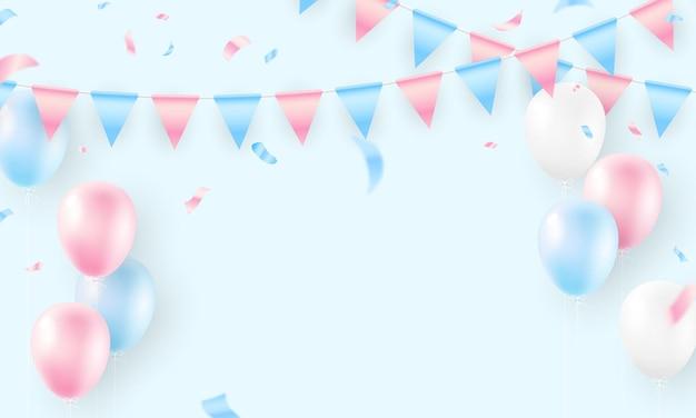 Ballonnen kleurrijke vlag viering frame achtergrond met confetti. vlag