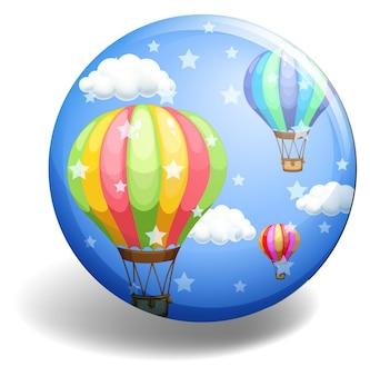 Ballonnen op blauwe badge