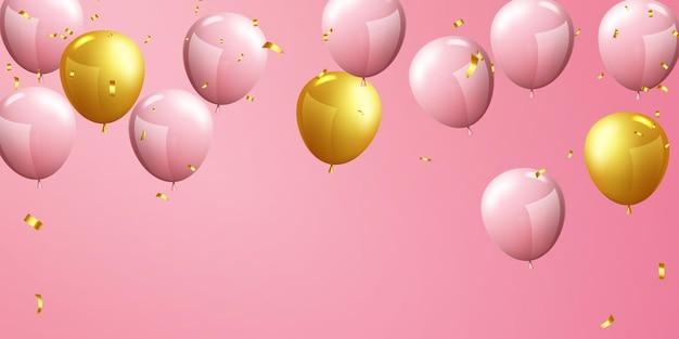 Ballonnen roze gouden viering frame achtergrond. evenement en vakantie poster.