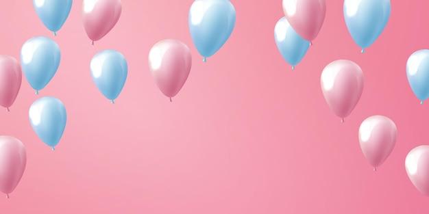 Ballonnen roze viering frame achtergrond. evenement en vakantie poster.